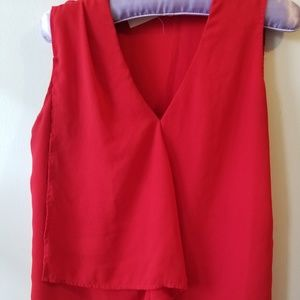Laura Red Short Sleeve Tiered Blouse